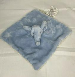 Mon Lapin Elephant Lovey Blue Plush With Sherpa Baby Securit