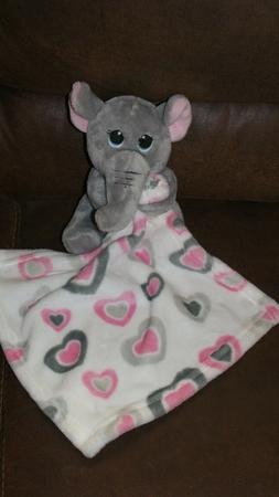 little beginnings ELEPHANT lovey security blanket hearts pin
