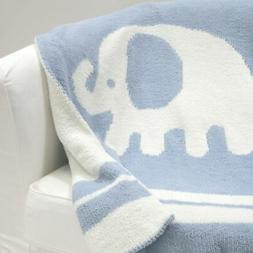 Lambs & Ivy Signature Elephant Tales Blue/White Chenille Bla