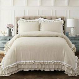 Ella Shabby Chic Ruffle Lace Comforter Neutral 3Pc Set Full/
