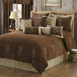 Embroidered Deer Browning Buckmark Suede Bedding Set Comfort