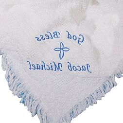 GiftsForYouNow God Bless Personalized White Afghan Blanket f