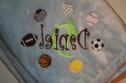 Embroidered Monogrammed Baby Blanket Stroller Soft Colors fo