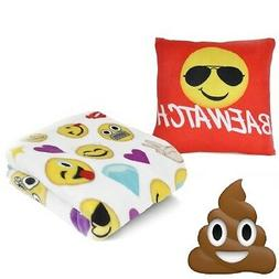 "💗 EmojiPals 12"" x 12"" Pillow and Throw Set Emoji Blanket"