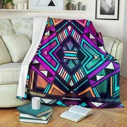 VibesPrints Ethnic Aztec Trippy Print Premium Fleece Blanket