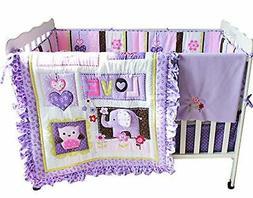 F.C.L Baby Girls Purple  Crib Bedding Set with  Bumper, 8 Pi