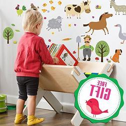 Farm Animal Barnyard Wall Decals for Kids - Farming Baby Roo