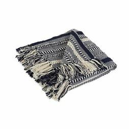 DII Farmhouse Cotton Stripe Blanket Throw with Fringe For Ch