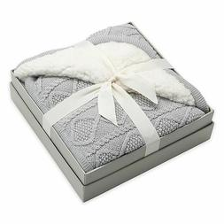 Elegant Baby Faux Fur Cable Knit Blanket in Grey Soft Swaddl