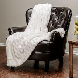 Chanasya Faux Fur Embossed Pattern Throw Blanket for Bed Cou