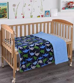 Elegant Home Kids Soft & Warm Blue Green Sharks Design Sherp