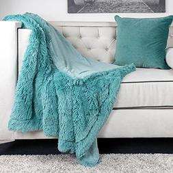 Homey Cozy Faux Fur and Flannel Teal Throw Blanket, Super So