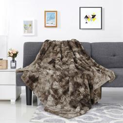 Faux Fur Fleece Throw Blanket Soft Warm Lightweight Sofa Plu