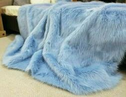Faux Fur Throw Blanket Baby Blue Soft Plush Cuddle Accent Th