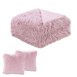 uxcell Faux Fur Throw Blanket Pillow Cover Set - Decorative