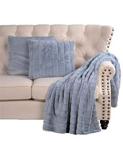 Cozy Studio 3 Piece Faux Fur Throw Blanket Pillow Set - Fuzz
