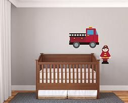 Fireman Kids Room Firefighter Red Bedroom Fire Boy Nursery W