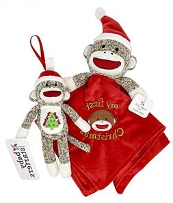 My First Christmas, Adorable Sock Monkey Security Blanket an