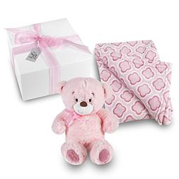 My First Teddy Baby Girl Gift Set - Pink Clover Print Coral