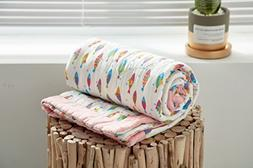 J-pinno Fishes Pink Baby Nursery Muslin Cotton Bed Quilt Bla