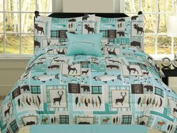 Fishing Lakehouse Cabin Lodge Comforter Bedding Set Bear Fis