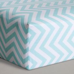 Circo Fitted Crib Sheet 100% Cotton Woven 200TC ~Aqua/ White
