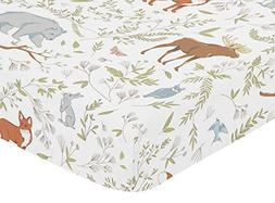 Sweet Jojo Fitted Crib Toddler Bed Sheet Woodland Toile Bedd