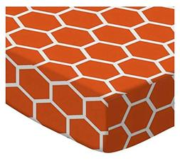 SheetWorld Round Crib Sheets - Burnt Orange Honeycomb - Made