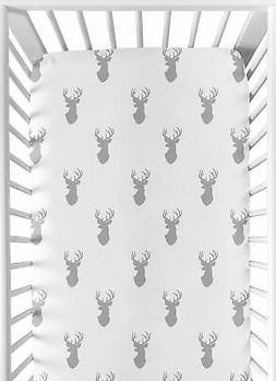 Fitted Crib Or Toddler Sheet For Sweet Jojo Grey And White W