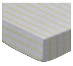 SheetWorld Fitted Pack N Play  Sheet - Yellow Stripes Jersey