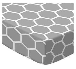 SheetWorld Round Crib Sheets - Grey Honeycomb - Made In USA
