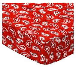 SheetWorld Fitted Oval  - Primary Paisley White On Red Woven