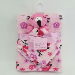 Cutie Pie Flamingo Baby Blanket & Security Blanket Lovey Set