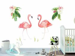 Flamingo Tropical Flowers Leaves Removable Wall Art Stickers