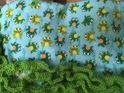 "Flannel Baby Blanket w Hand Crocheted Green Border ""Frog"" Th"