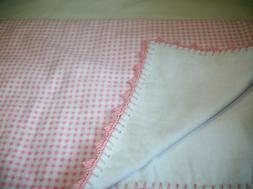 Handmade Flannel Baby Crib Blanket Crochet Pink Checks  New