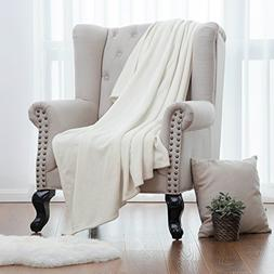 Bedsure Flannel Fleece Luxury Blanket White Throw Lightweigh