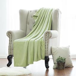 Flannel Fleece Blanket Sage Green Throw Lightweight Cozy Plu