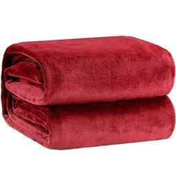 Bedsure Flannel Fleece Luxury Blanket Burgundy Throw Lightwe