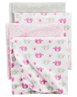 Carter's 4 Pack Flannel Receiving Blanket - Pink Elephant
