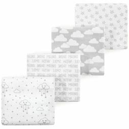 Hudson Baby 4 Piece Flannel Receiving Blanket, Gray Clouds,
