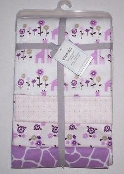 Carter's 4 Pack Flannel Receiving Blanket - Lilac Giraffe