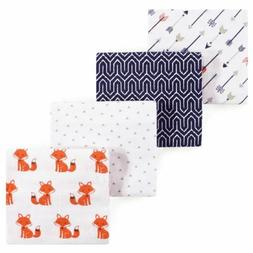 Hudson Baby Flannel 4 Piece Receiving Blanket, Foxes, One Si