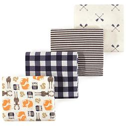 Hudson Baby 4 Piece Flannel Receiving Blanket, Forest, One S