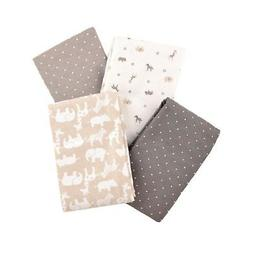 Carter's Flannel Receiving Blankets, Taupe Jungle/Grey