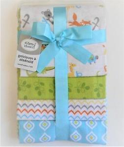 Luvable Friends 4 Piece Flannel Receiving Blankets, Owls