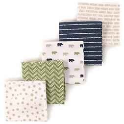Luvable Friends 5-Piece Flannel Receiving Blankets, Rhino, 2