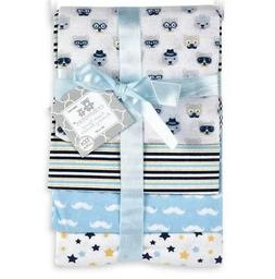 Hudson Baby Flannel Receiving Blankets, Blue Cars