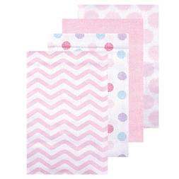 Luvable Friends 4 Pack Flannel Receiving Blankets - Pink Che