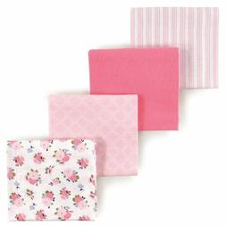 LUVABLE FRIENDS BABY GIRLS 4 PACK FLANNEL RECEIVING BLANKETS